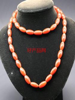 橙红玛瑙筒形串珠项链