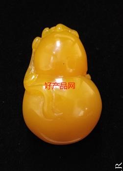 蜜蜡鸡油黄葫芦吊坠