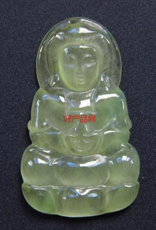 翡翠冰种浅绿色佛像